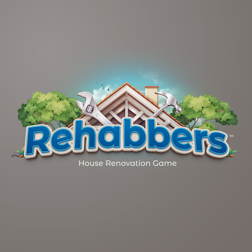 Video game design with the title 'Rehabbers Videogame Logo'
