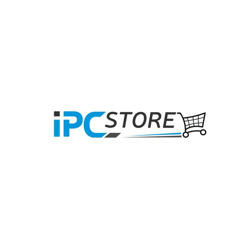 Shopping cart logo with the title 'Logo Re-design for general online store with large amount of inventory'