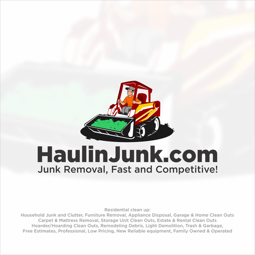 Bulldozer logo with the title 'Logo for haulinjunk.com'