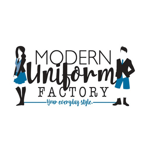 Boy and girl logo with the title ' logo illustration for: modern uniform factory'