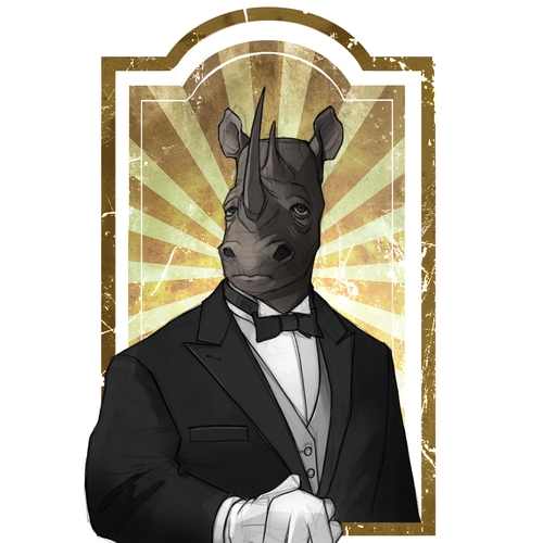 Animal character artwork with the title 'Rhino Butler Illustration'