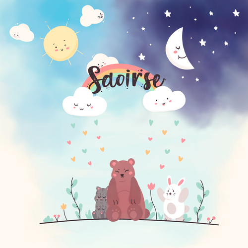 Sun illustration with the title 'Cute design'