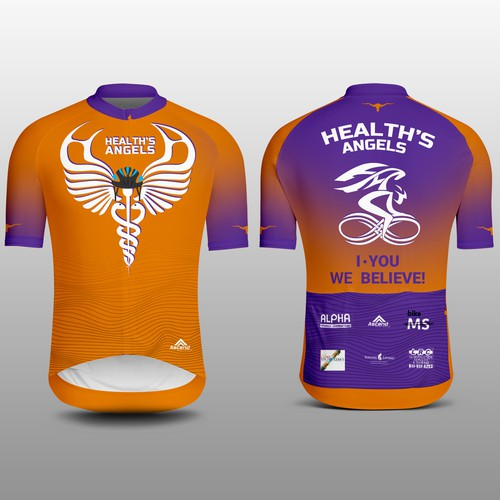 Bike design with the title 'Health's Angels Cycling Jersey'