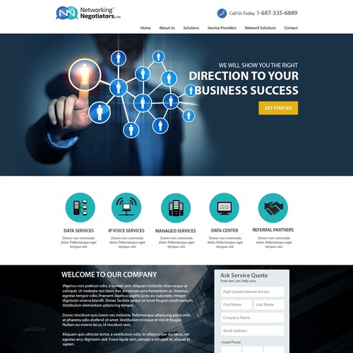 Network website with the title 'Create a new web site for Network Negotiators'