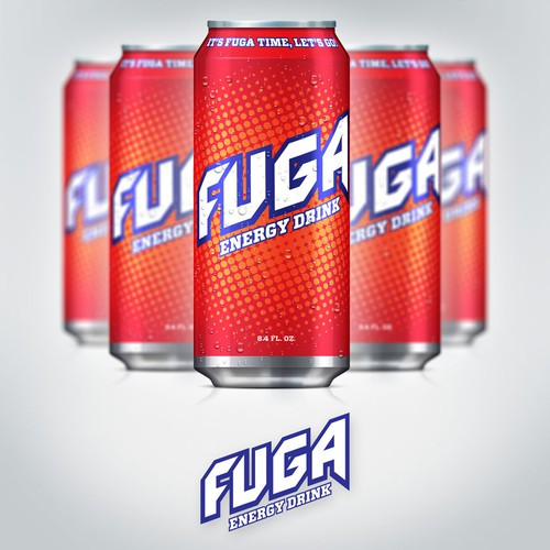Energy drink label with the title 'Create the next product label for Fuga Energy Drink'