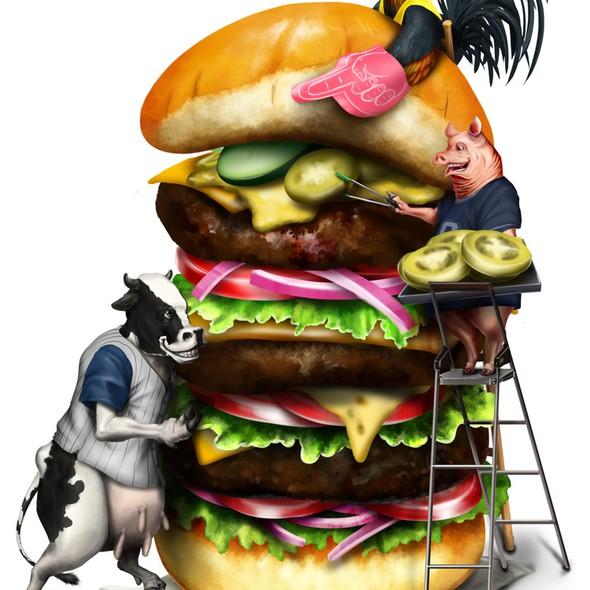 Cow artwork with the title 'Cartoon Illustration - Farm Animals Building a Hamburger'