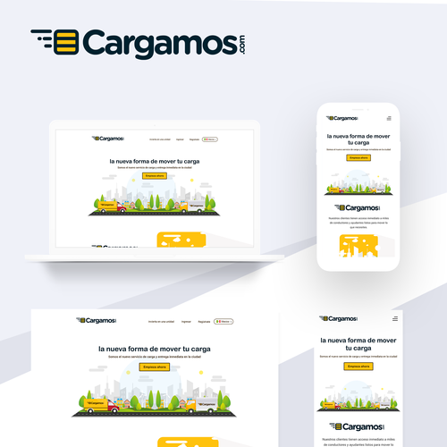 Transportation design with the title 'cargamos landing page design'