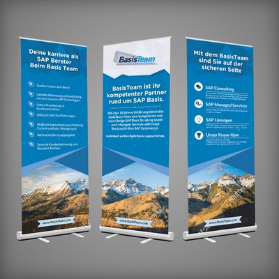 Roll-up display design for a booth