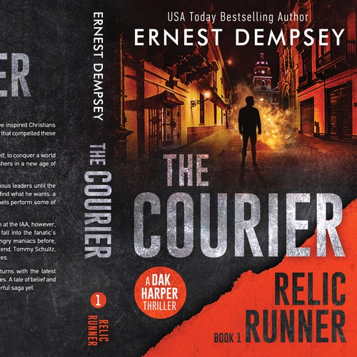 Thriller book cover with the title 'The Courier - Relic Runner Book 1'