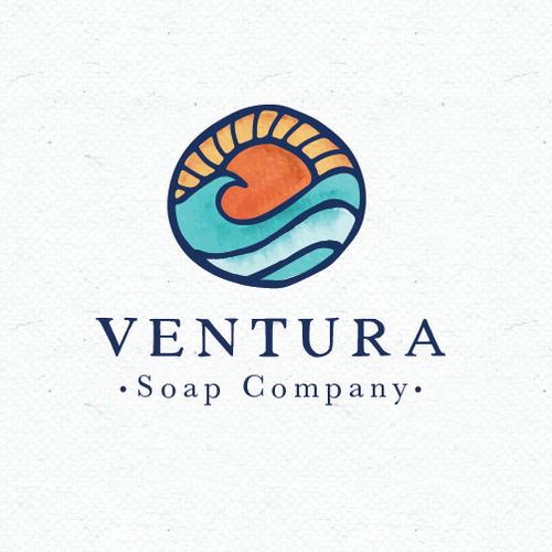 Sun logo with the title 'Ventura soap company'