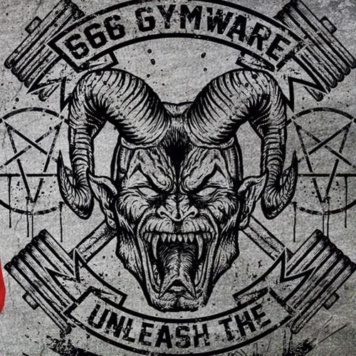 Horn design with the title 'Devil/Demon bodybuilding Hoodie'