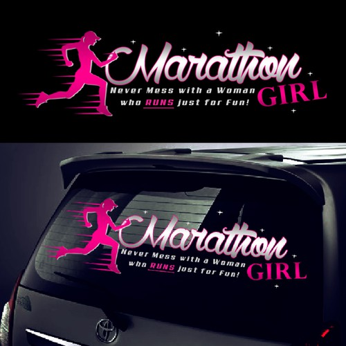 Marathon design with the title 'Create a Stand Out Car Window Sticker for Marathon Girl'