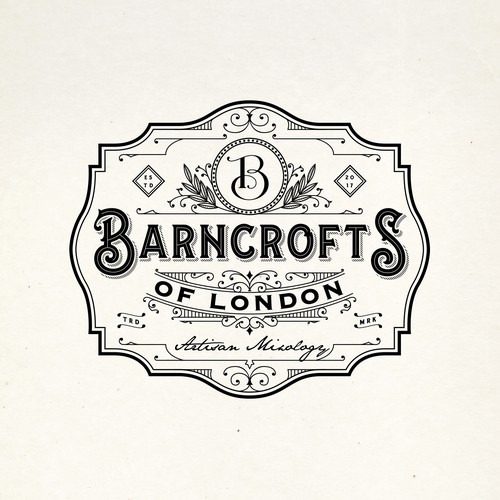Victorian logo with the title 'BANCROFTS OF LONDON LOGO PROPOSAL'