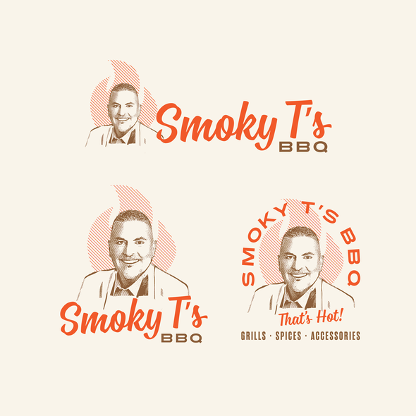 Responsive logo with the title 'Mature, vintage, fun illustration for BBQ connoisseurs'