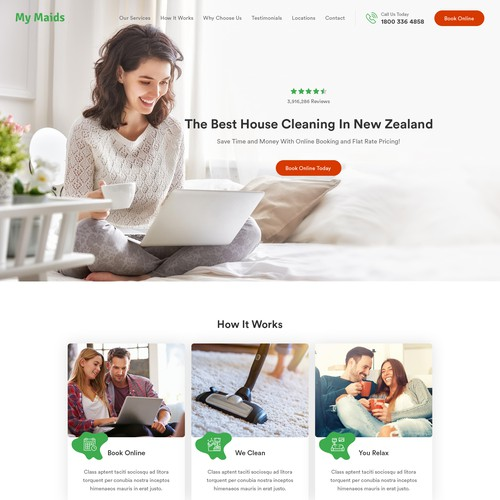 Cleaning design with the title 'Homepage Design For The #1 House Cleaning Service In New Zealand'