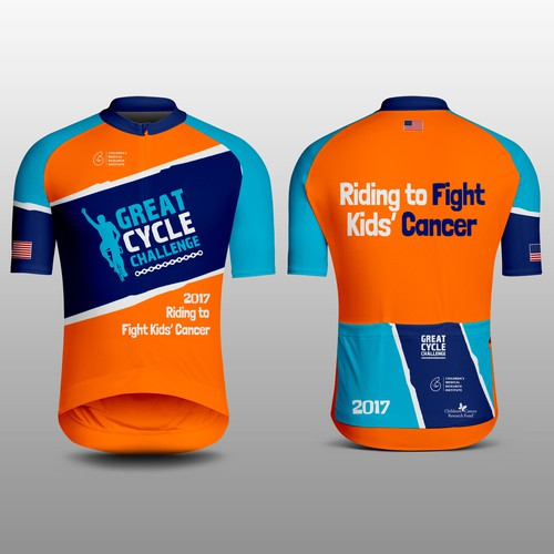 Cycling design with the title '2017 Riding to Fight Kids' Cancer'