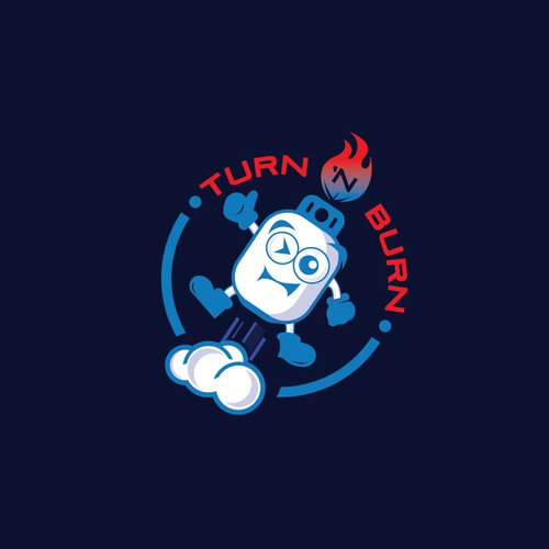 Burning design with the title 'Playful Logo for a Propane Tank Product'