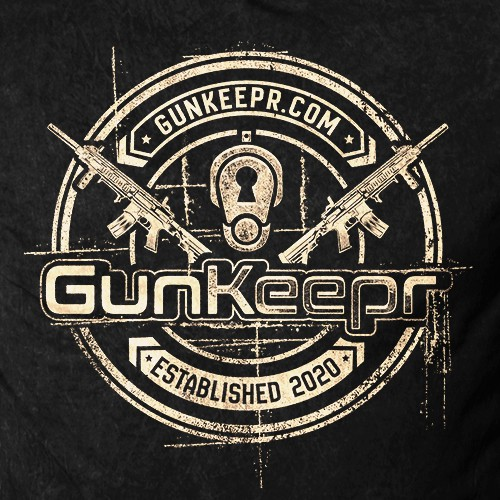 Distressed t-shirt with the title 'GunKeepr's T shirt Design'