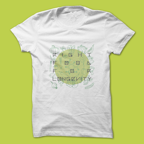 Flat t-shirt with the title 'Concept Logo for Food Longevity'