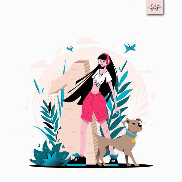 People illustration with the title 'Artwork for a digital calendar'