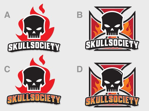 Biker logo with the title 'Logo for SkullSociety - a new brand of biker t-shirts.'