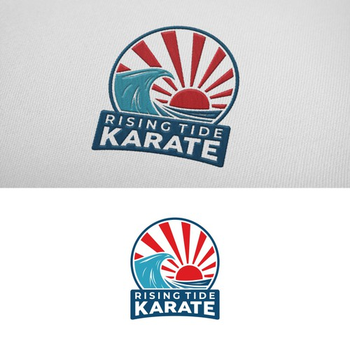 Patch logo with the title 'RISING TIDE KARATE LOGO'