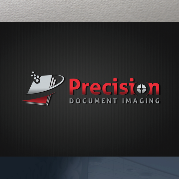 Document design with the title 'Precision Document Imaging Logo & Website'