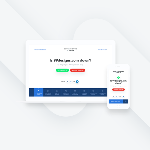 Hosting design with the title 'UI/UX Website Status Service'