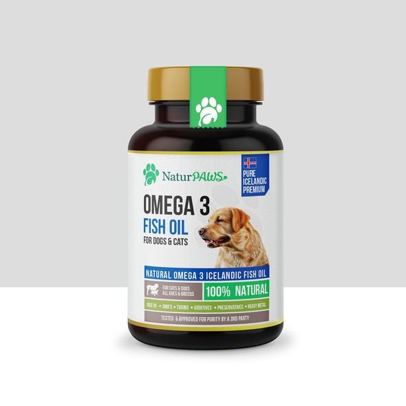 Cat design with the title 'Natur PAWS Omega 3 Fish Oil'