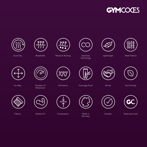 Gym design with the title 'GYMCODES icons set'