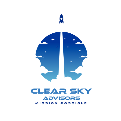 Rocket ship logo with the title 'Logo Concept for Clear Sky Advisors'