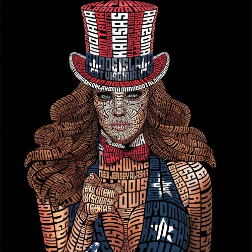 Girl illustration with the title 'American Girl Typography'