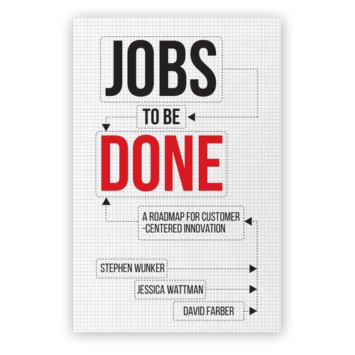 Red and black design with the title 'Jobs to be Done - Cover design'