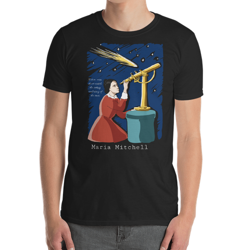 Astronomy design with the title 'Design for a t-shirt featuring a woman of science'