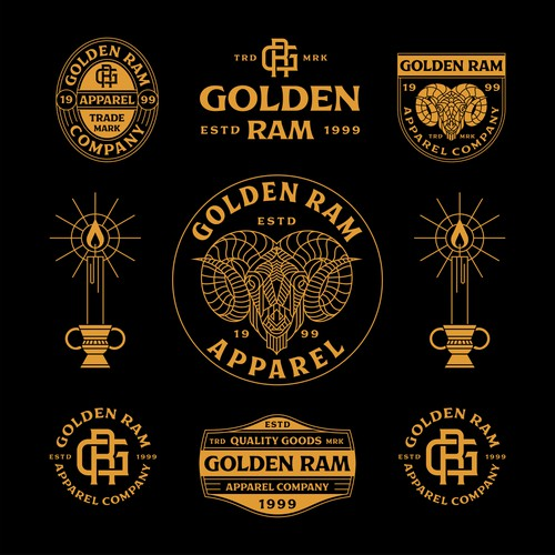 Goat design with the title 'Golden Ram Apparel'