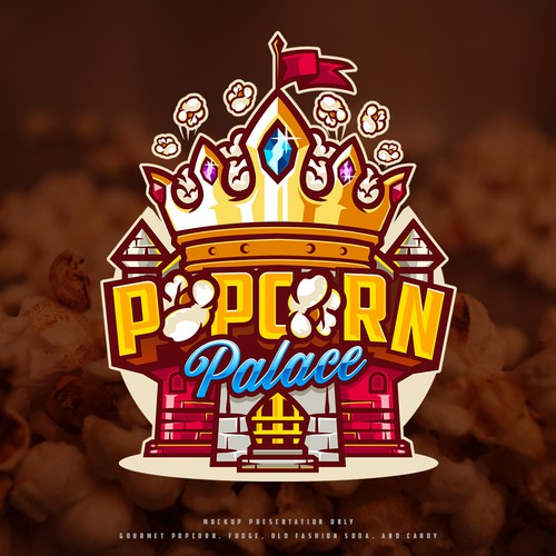 Crown design with the title 'POPCORN Palace'