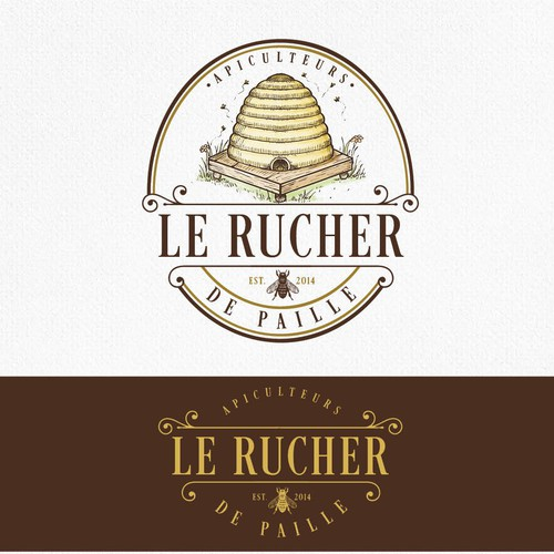 Beekeeping logo with the title 'Le Rucher de Paille'