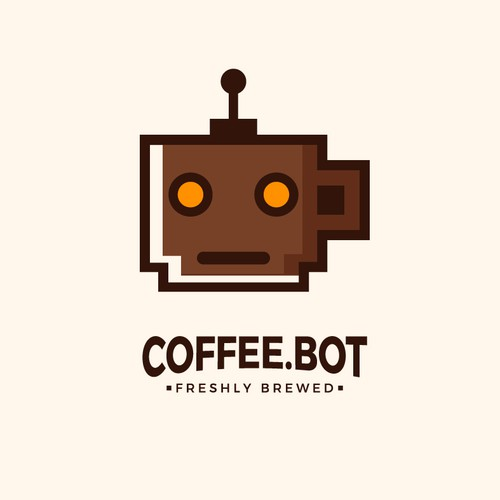 Bot logo with the title 'Fun Logo for Automated Coffee Equipment Company'
