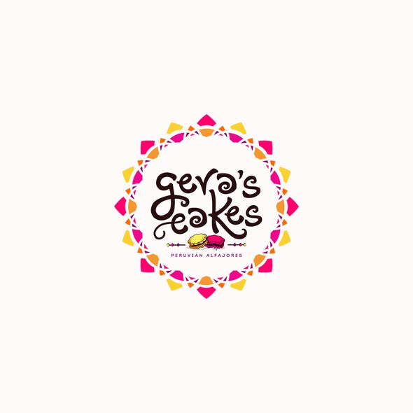 """Orange and pink logo with the title 'Logo design for """"Gera's Cakes.""""'"""