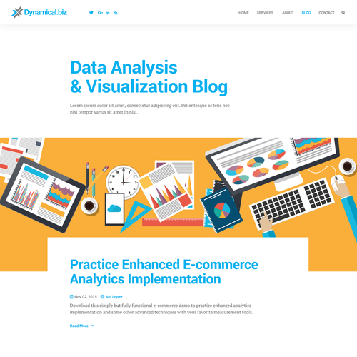 Landing page website with the title 'Blog concept for Dynamical.biz'