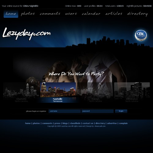 Party website with the title 'Lazyday.com'