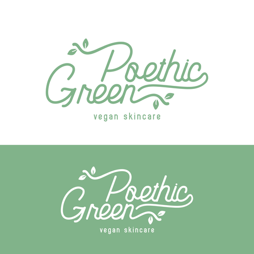 Curvy design with the title 'Poethic Green for a line of vegan skincare'