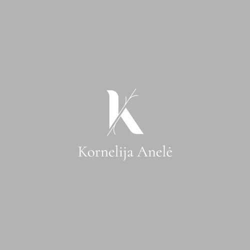 Grey brand with the title 'Logo Design for Kornelija Anele'