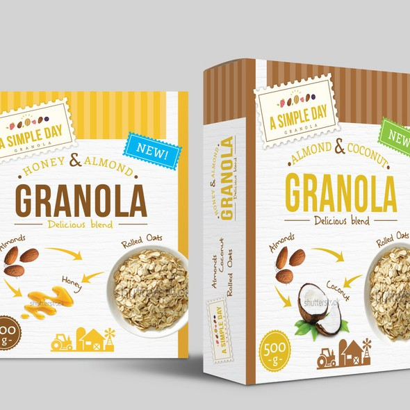 Artistic packaging with the title 'A Simple Day Granola Box Design'