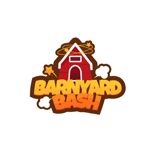 Lawn care logo with the title 'Barnyard Bash game Logo'