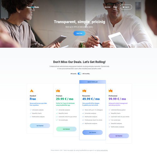 Pharmaceutical website with the title 'Website design refresh for the Medical App'