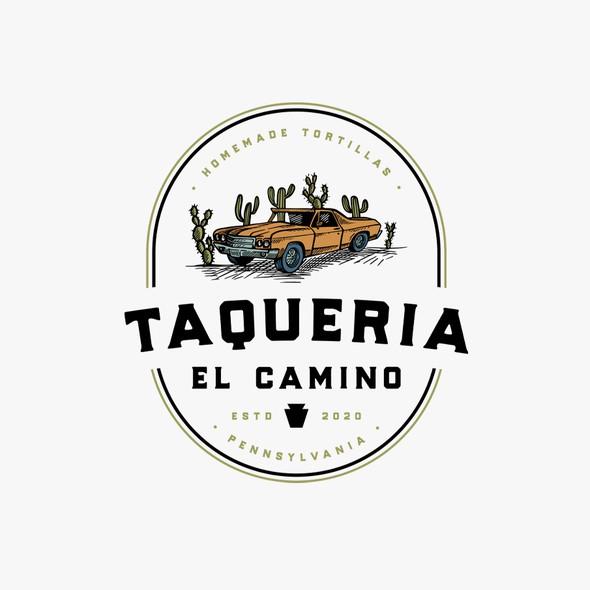 Vintage car logo with the title 'Taqueria El Camino'