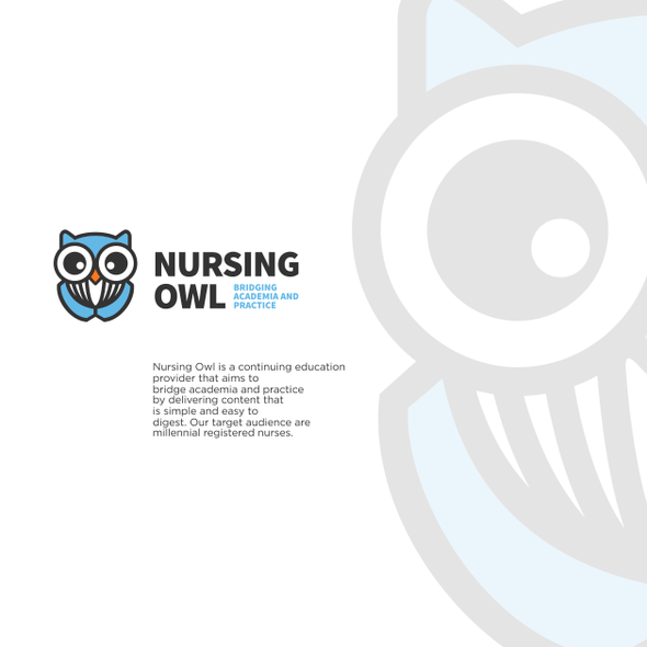 Nursing logo with the title 'NURSING OWL'