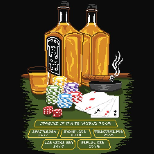 Gambling design with the title 'Pixel World Tour'