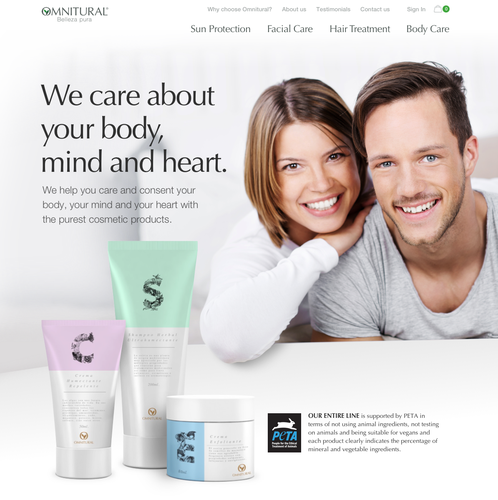 Natural website with the title 'Homepage for Omnitural - 100% natural cosmetics'